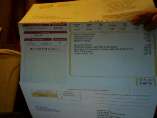 Electric Bill for the Trailer
