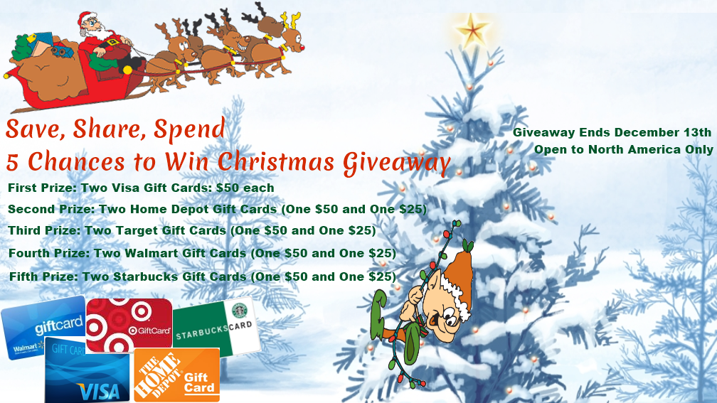Save, Share, Spend: 5 Chances to Win, Christmas Giveaway
