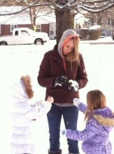 The girls & me having a snow fight. The only exercise I've gotten this week ;)