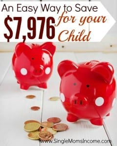 Looking for an easy way to save money for your kids? When my kids were babies I despearately wanted to save money for them but was working with a too-tight budget so I came up with an easy strategy. This strategy will help you painlessly save $7,976 by the time your child turns 18!