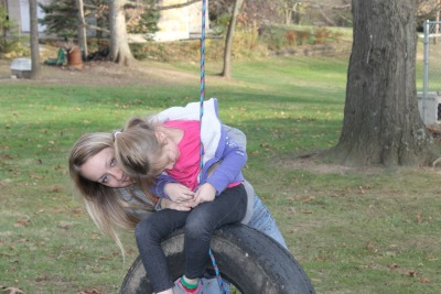 Kailyn mad that Mommy won't get off the tire swing. I like kid fun. ;)