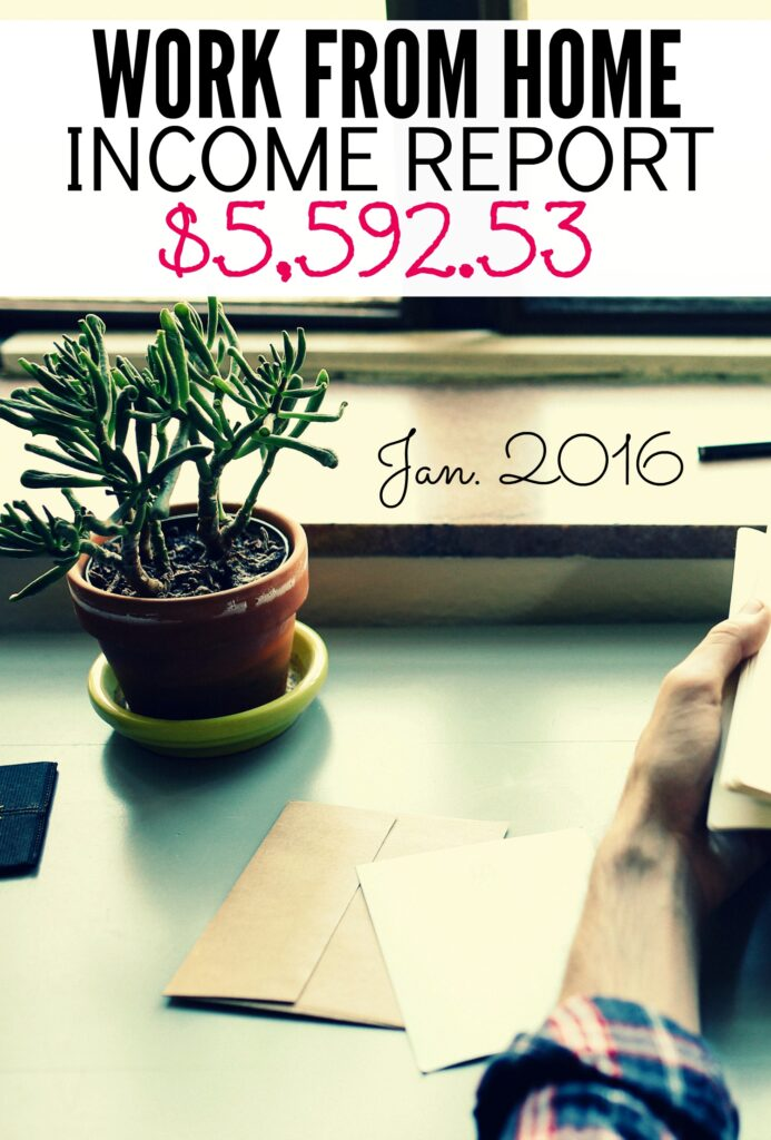 Here's my work from home income report for January 2016. How I made money blogging, freelance writing, and working as a virtual assistant!