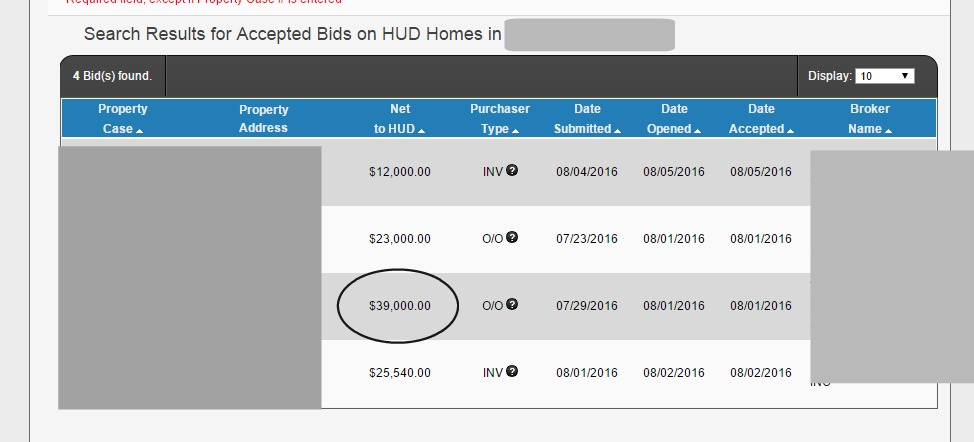 where to find hud home bid results