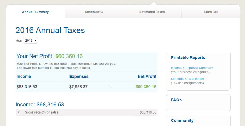 The taxes section in GoDaddy Bookkeeping.