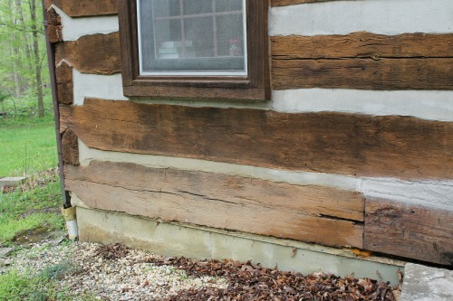 log rot on a log cabin
