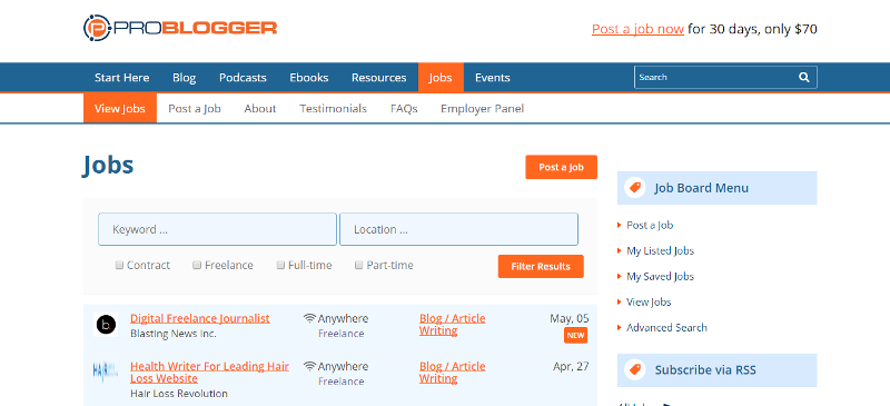 Find freelance writing jobs on the problogger job board.
