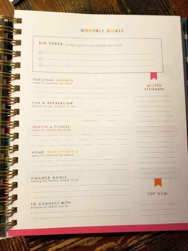Goals Sections of Living Well Planner