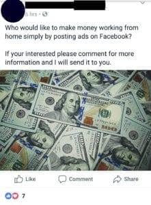 Posting ads on Facebook money making scam.