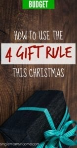 Don't want to bust your budget this Christmas? We don't blame you! Here's how to save a TON of money using the 4 gift rule. #budget #Christmas