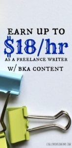 If you're a good writer and want to earn some extra money you can earn  up to $18 per hour with BKA. Learn more in our BKA content review. #freelancewriting #sidehustle #makemoney
