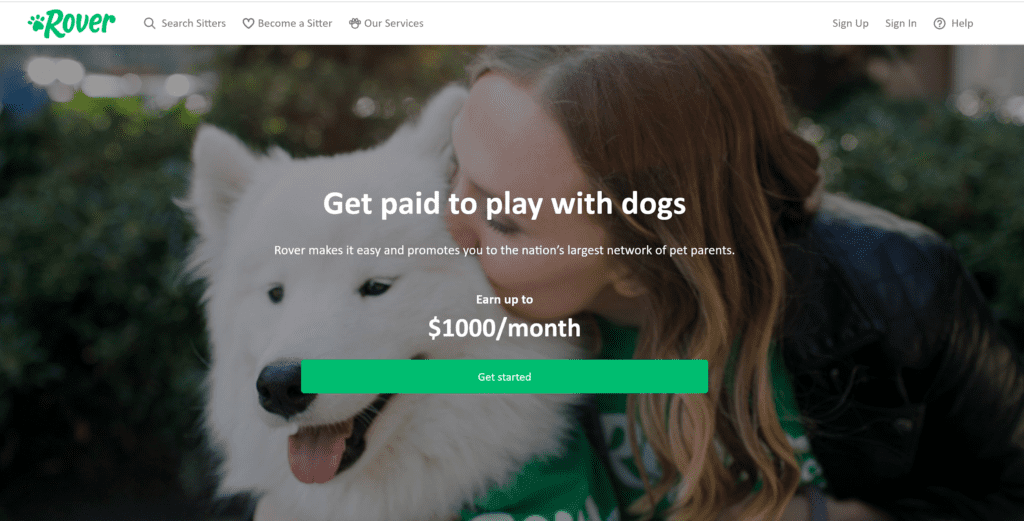 Use the Rover App to find pet sitting jobs.