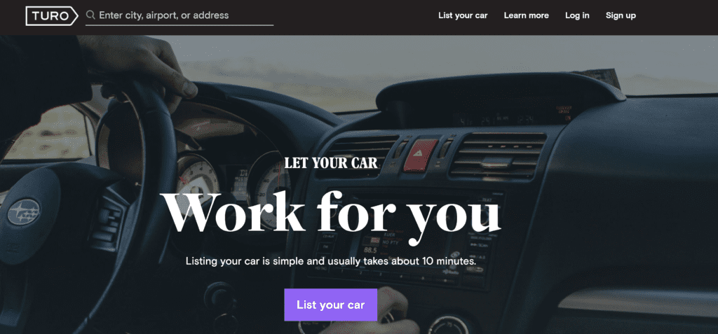 Rent out your car with Turo.