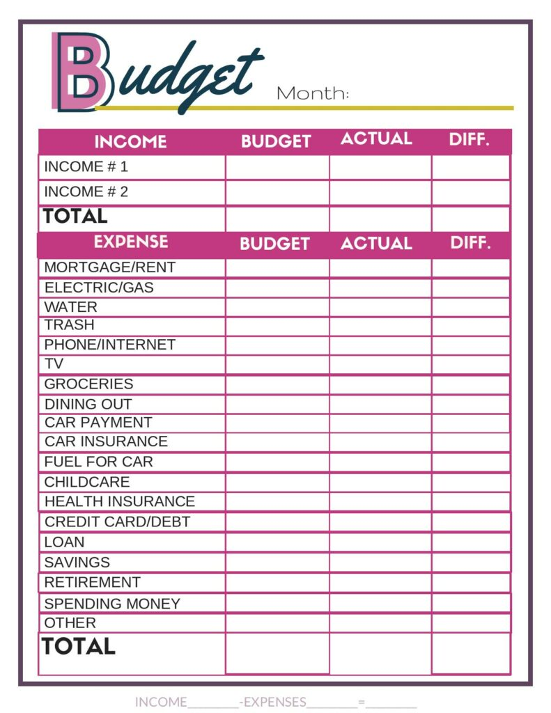 Free Budget Worksheets - Single Moms Income