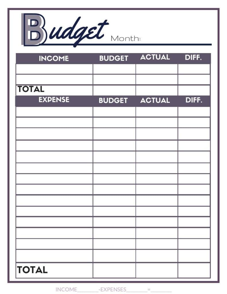 Free purple blank budget worksheet. #budget #printables #budgetbinder #budgetworksheet