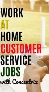 If you're looking for a work at home customer service job Concentrix is often hiring. This company will provide training and match you with a company. #workathome #makemoneyonline
