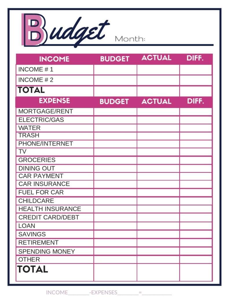 Free budget worksheet. #budget #budgetprintable