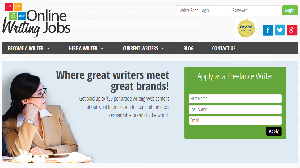 Screenshot of onlinewritingjobs.com website.