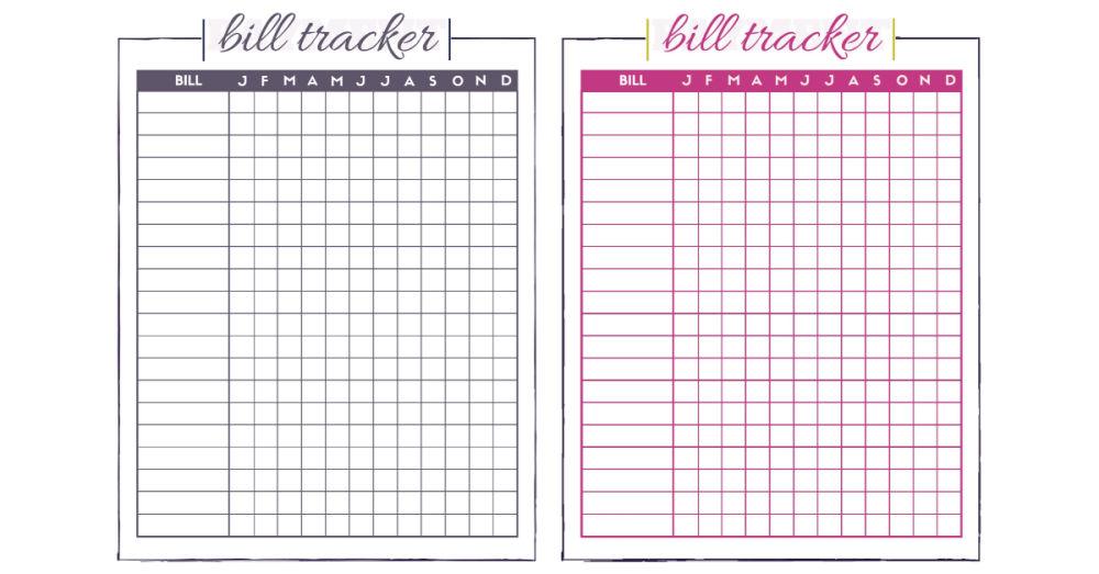 Free bill tracker worksheets.