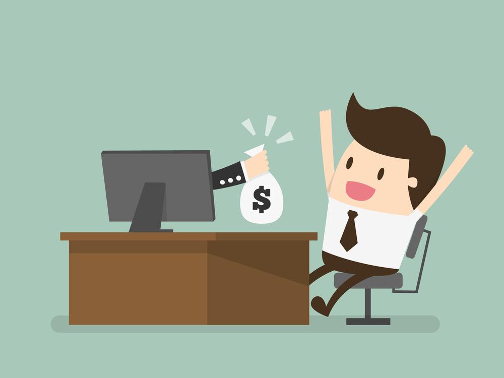 Making money posting Craigslist ads - vector sitting at desk on computer