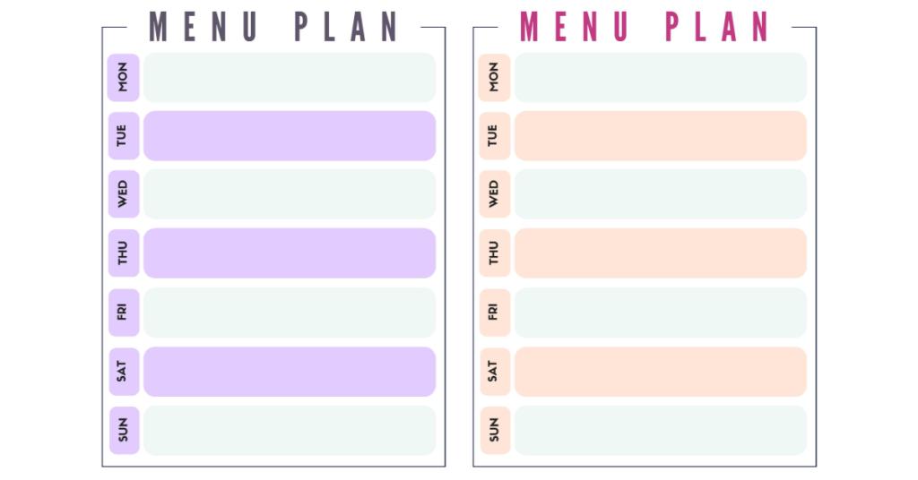 free menu plan worksheets
