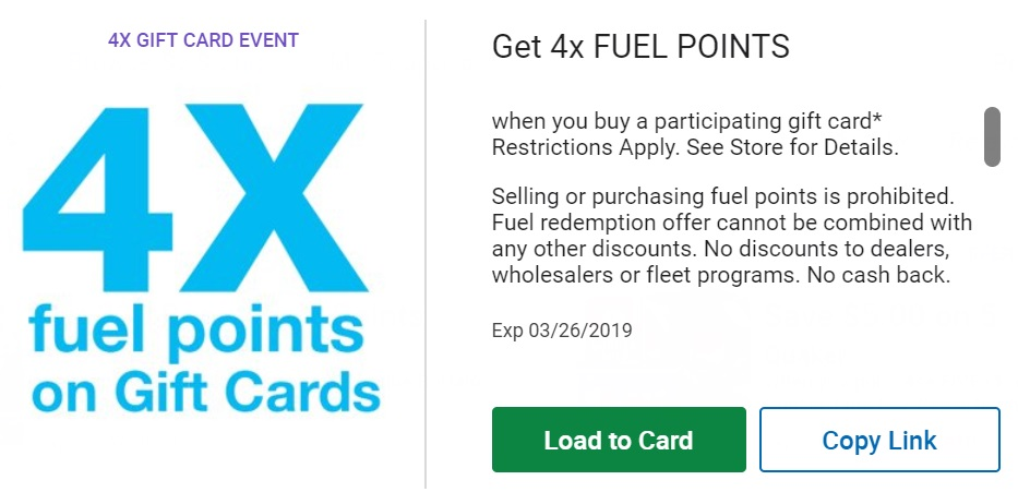 Buy gift cards at Krogers to earn fuel points.