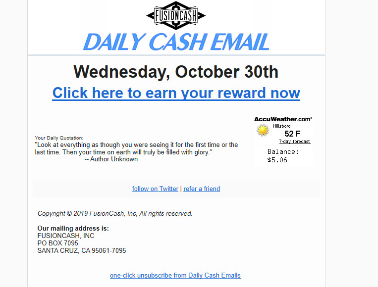 Fusion CAsh paid email.