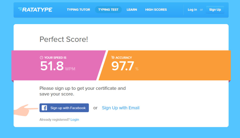 Free Typing Test from Rata Type